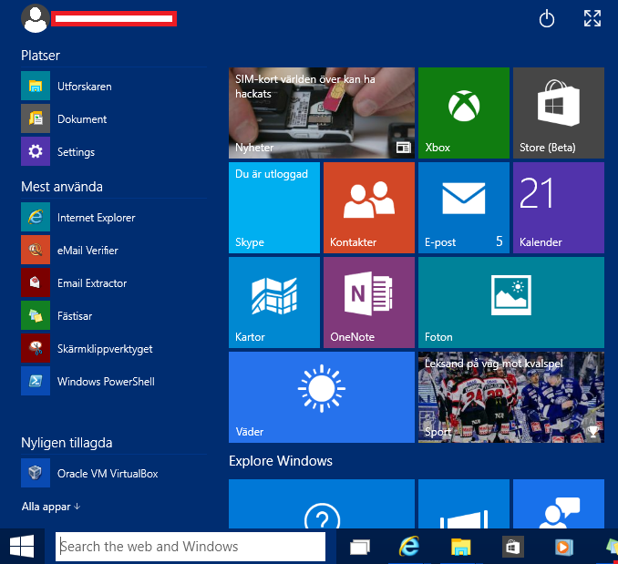 startmeny Windows 10