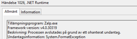 .NET RUNTIME ERROR 1026