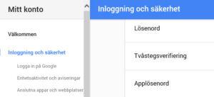 Applösenord Gmail