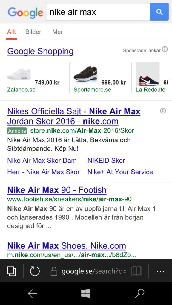 Google shopping i mobila sökresultaten